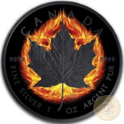 Canada INCUSE BURNING MAPLE $5 CANADIAN MAPLE LEAF Silver Coin 2018 Ruthenium plated 1 oz